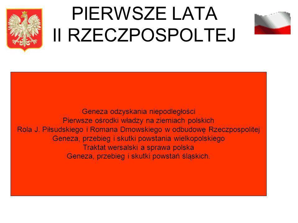 PIERWSZE LATA II RZECZPOSPOLTEJ Geneza odzyskania niepodległości Pierwsze ośrodki władzy na ziemiach polskich Rola J. Piłsudskiego i Romana Dmowskiego