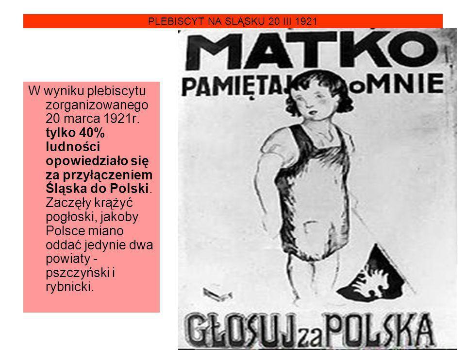 PLEBISCYT NA SLĄSKU 20 III 1921 W wyniku plebiscytu zorganizowanego 20 marca 1921r. tylko 40% ludności opowiedziało się za przyłączeniem Śląska do Pol