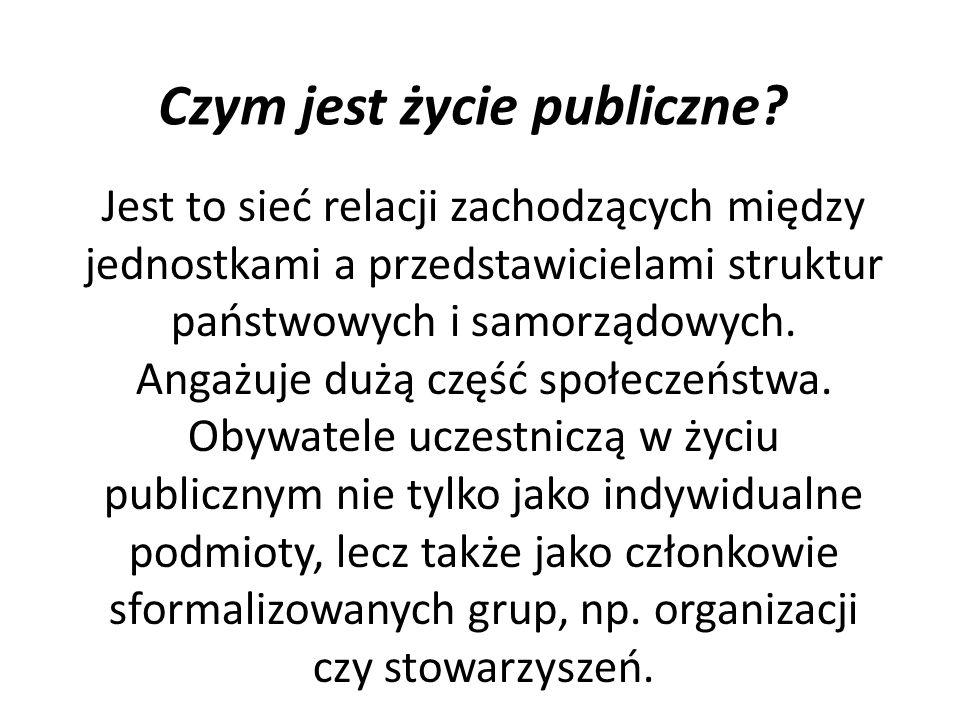 Czym jest życie publiczne? Jest to sieć relacji zachodzących między jednostkami a przedstawicielami struktur państwowych i samorządowych. Angażuje duż