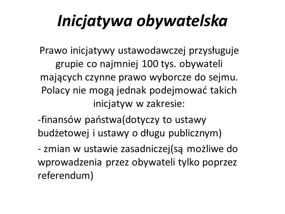 Inicjatywa obywatelska Prawo inicjatywy ustawodawczej przysługuje grupie co najmniej 100 tys. obywateli mających czynne prawo wyborcze do sejmu. Polac