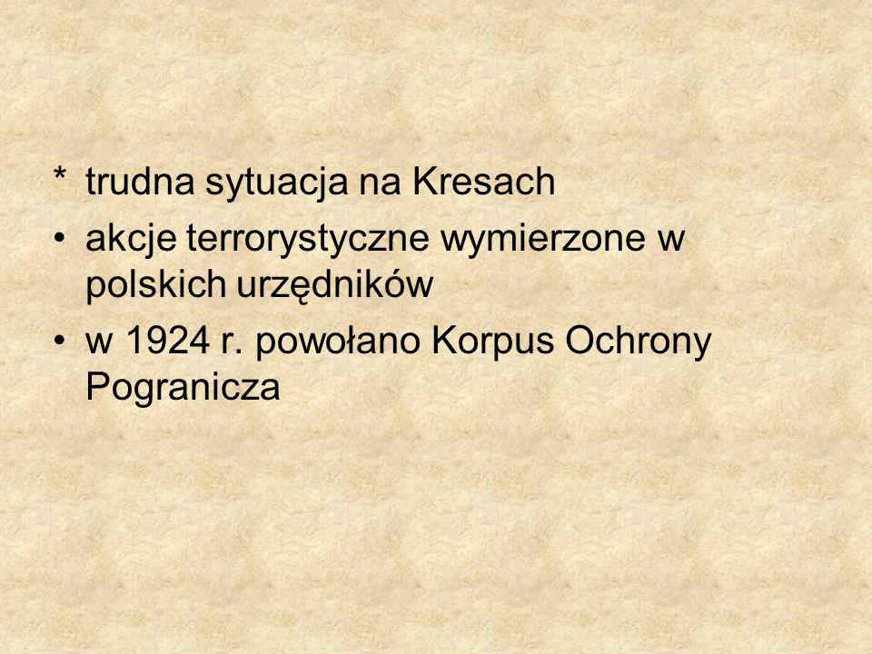 *trudna sytuacja na Kresach akcje terrorystyczne wymierzone w polskich urzędników w 1924 r. powołano Korpus Ochrony Pogranicza