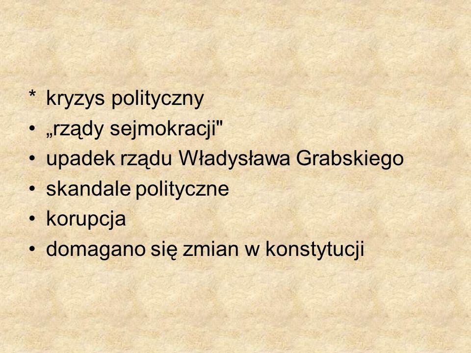 *kryzys polityczny rządy sejmokracji