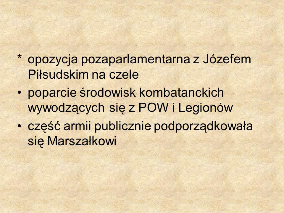 *opozycja pozaparlamentarna z Józefem Piłsudskim na czele poparcie środowisk kombatanckich wywodzących się z POW i Legionów część armii publicznie pod