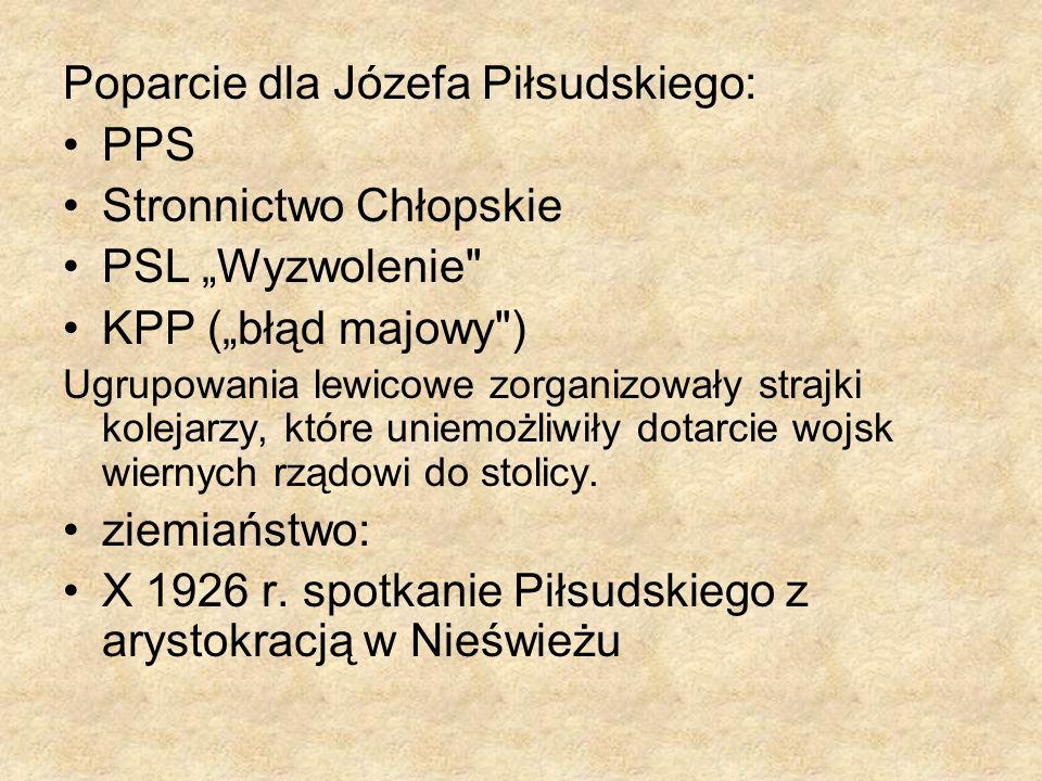 Poparcie dla Józefa Piłsudskiego: PPS Stronnictwo Chłopskie PSL Wyzwolenie
