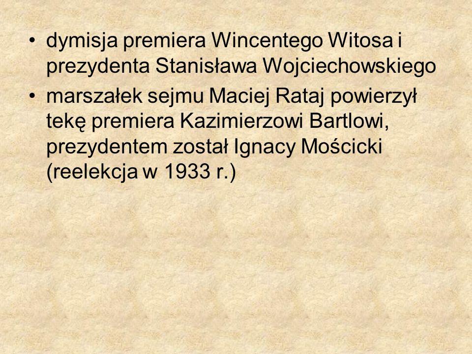 dymisja premiera Wincentego Witosa i prezydenta Stanisława Wojciechowskiego marszałek sejmu Maciej Rataj powierzył tekę premiera Kazimierzowi Bartlowi
