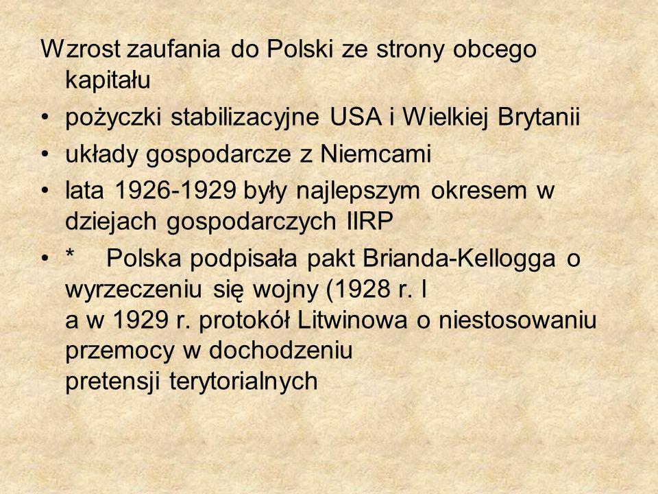 Wzrost zaufania do Polski ze strony obcego kapitału pożyczki stabilizacyjne USA i Wielkiej Brytanii układy gospodarcze z Niemcami lata 1926-1929 były