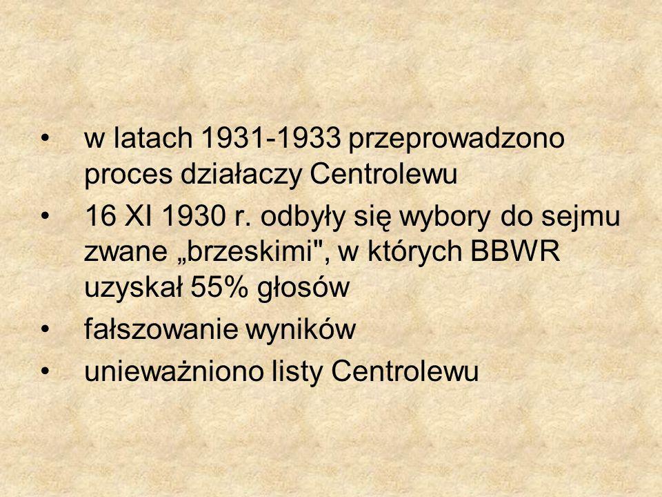w latach 1931-1933 przeprowadzono proces działaczy Centrolewu 16 XI 1930 r. odbyły się wybory do sejmu zwane brzeskimi