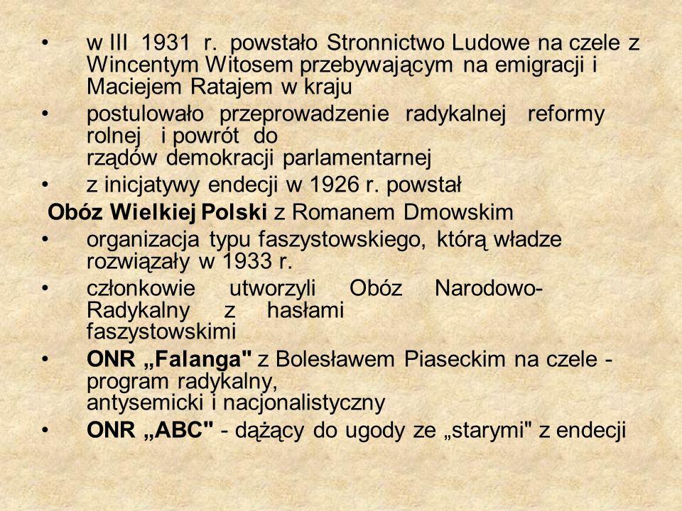 w III 1931 r. powstało Stronnictwo Ludowe na czele z Wincentym Witosem przebywającym na emigracji i Maciejem Ratajem w kraju postulowało przeprowadzen