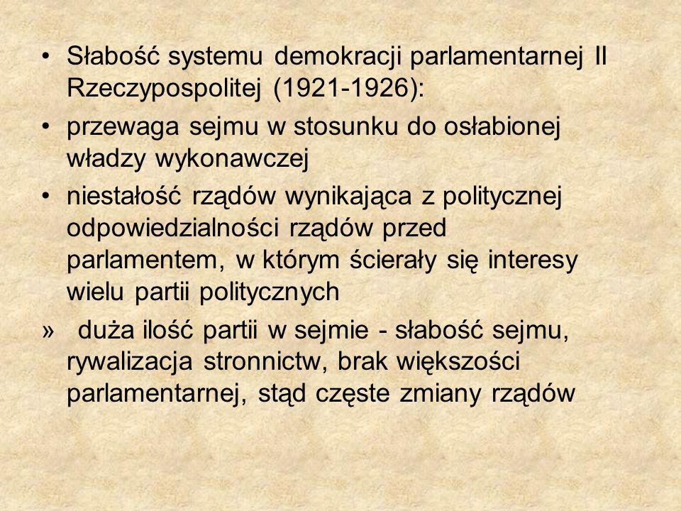 Słabość systemu demokracji parlamentarnej II Rzeczypospolitej (1921-1926): przewaga sejmu w stosunku do osłabionej władzy wykonawczej niestałość rządó
