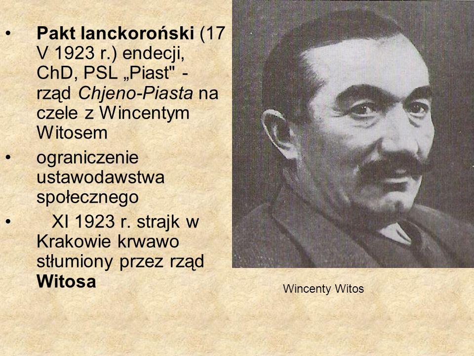 dymisja premiera Wincentego Witosa i prezydenta Stanisława Wojciechowskiego marszałek sejmu Maciej Rataj powierzył tekę premiera Kazimierzowi Bartlowi, prezydentem został Ignacy Mościcki (reelekcja w 1933 r.)