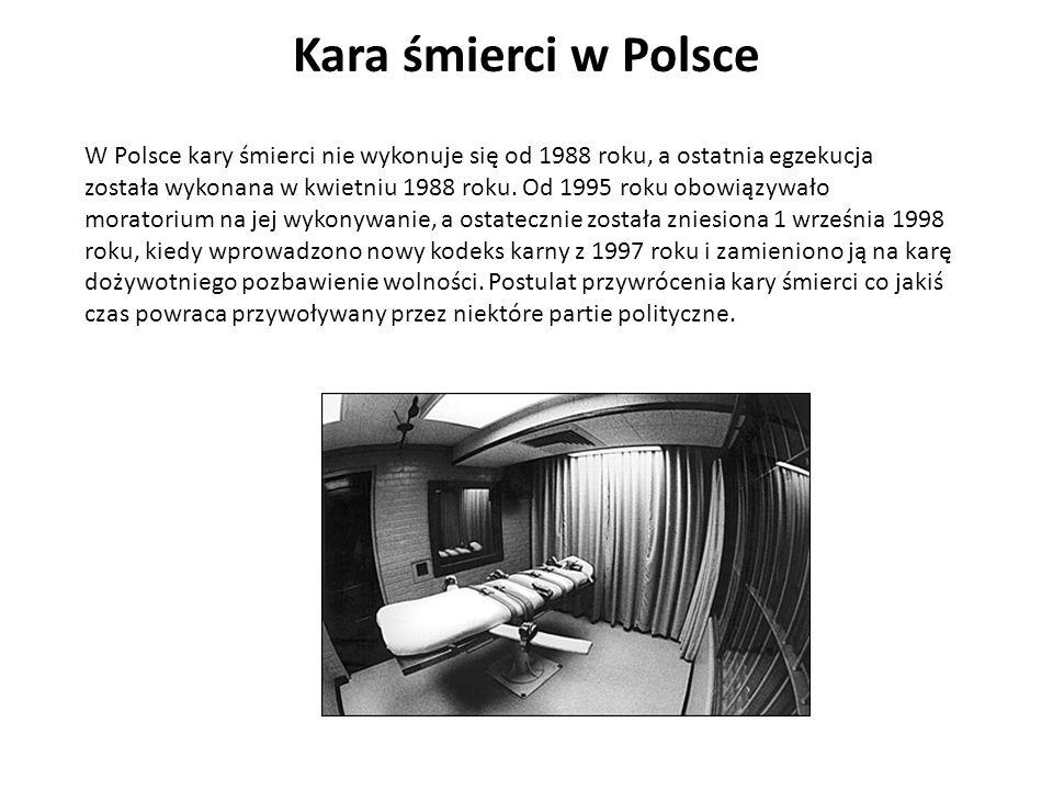 W Polsce kary śmierci nie wykonuje się od 1988 roku, a ostatnia egzekucja została wykonana w kwietniu 1988 roku. Od 1995 roku obowiązywało moratorium