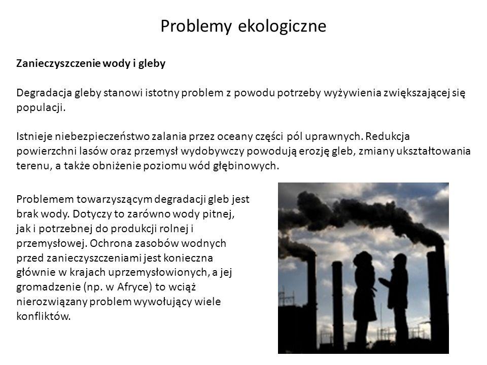 Problemy ekologiczne Zanieczyszczenie wody i gleby Degradacja gleby stanowi istotny problem z powodu potrzeby wyżywienia zwiększającej się populacji.