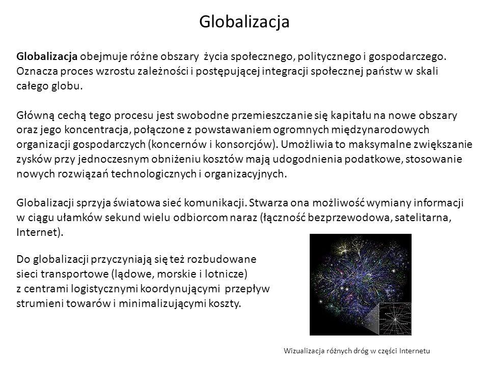 Globalizacja Globalizacja obejmuje różne obszary życia społecznego, politycznego i gospodarczego. Oznacza proces wzrostu zależności i postępującej int