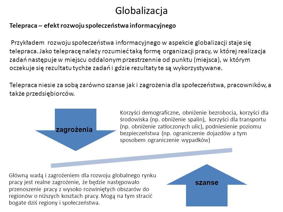 Telepraca – efekt rozwoju społeczeństwa informacyjnego Przykładem rozwoju społeczeństwa informacyjnego w aspekcie globalizacji staje się telepraca. Ja