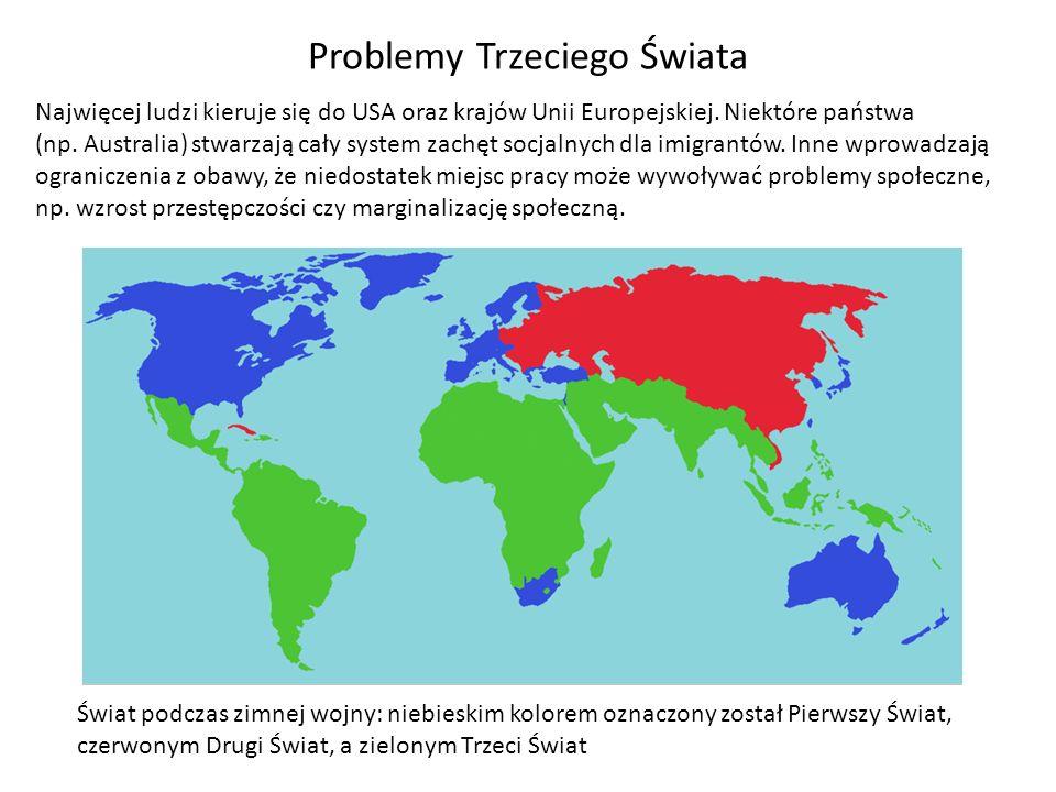 Problemy Trzeciego Świata Najwięcej ludzi kieruje się do USA oraz krajów Unii Europejskiej. Niektóre państwa (np. Australia) stwarzają cały system zac