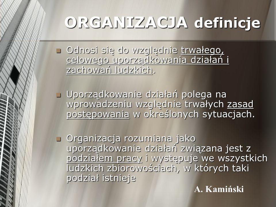 ORGANIZACJA definicje Odnosi się do względnie trwałego, celowego uporządkowania działań i zachowań ludzkich. Odnosi się do względnie trwałego, celoweg