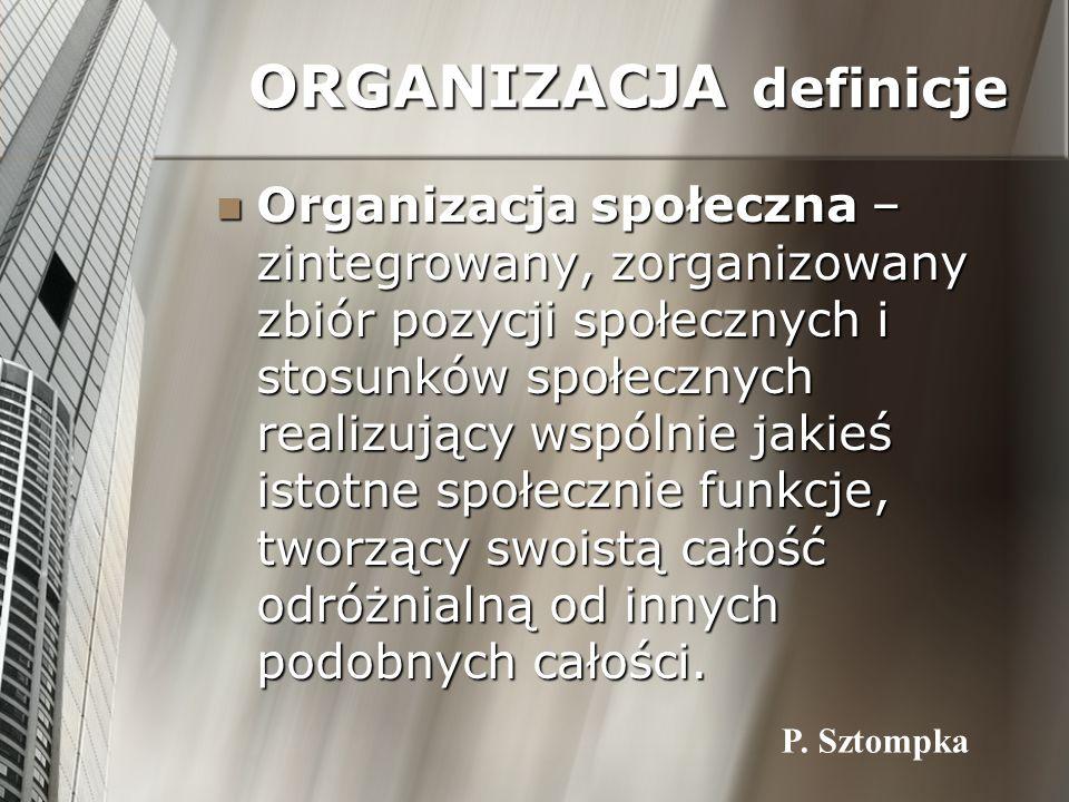 ORGANIZACJA definicje Organizacja społeczna – zintegrowany, zorganizowany zbiór pozycji społecznych i stosunków społecznych realizujący wspólnie jakie