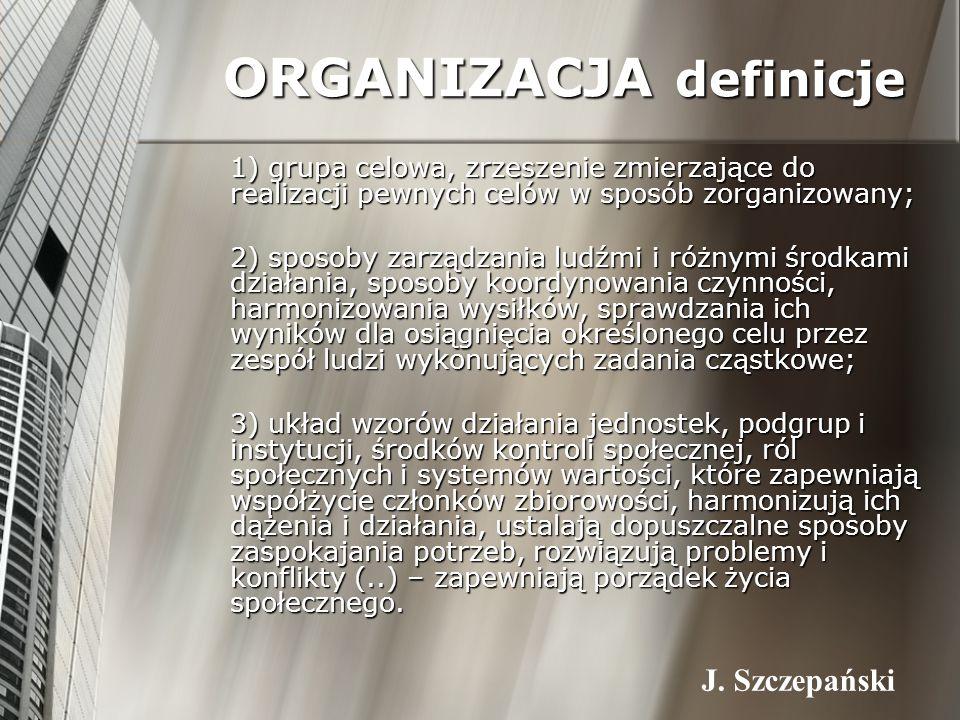 ORGANIZACJA definicje 1) grupa celowa, zrzeszenie zmierzające do realizacji pewnych celów w sposób zorganizowany; 1) grupa celowa, zrzeszenie zmierzaj