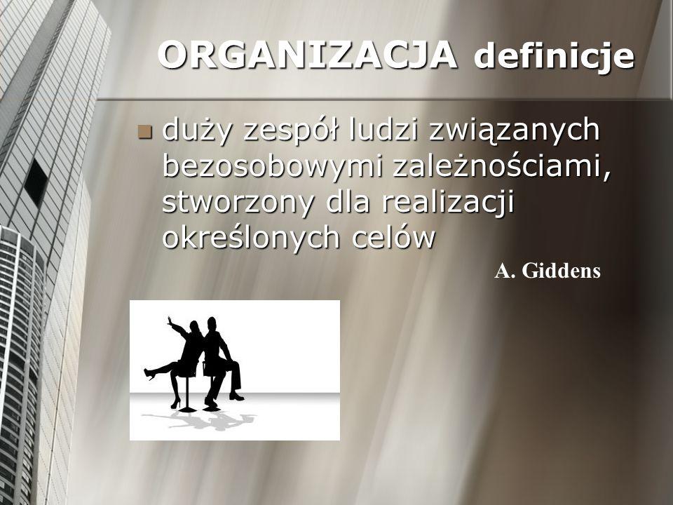 ORGANIZACJA definicje duży zespół ludzi związanych bezosobowymi zależnościami, stworzony dla realizacji określonych celów duży zespół ludzi związanych