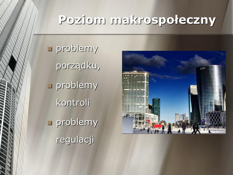 Poziom makrospołeczny problemy porządku, problemy porządku, problemy kontroli problemy kontroli problemy regulacji problemy regulacji