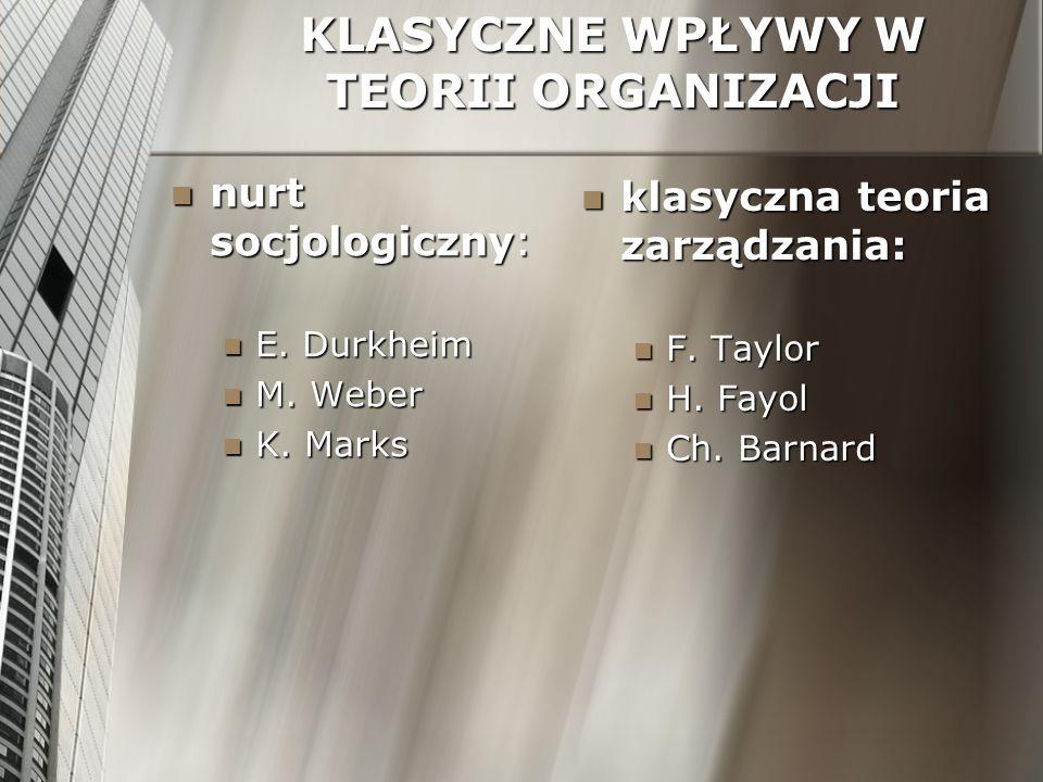 KLASYCZNE WPŁYWY W TEORII ORGANIZACJI nurt socjologiczny: nurt socjologiczny: E. Durkheim E. Durkheim M. Weber M. Weber K. Marks K. Marks klasyczna te