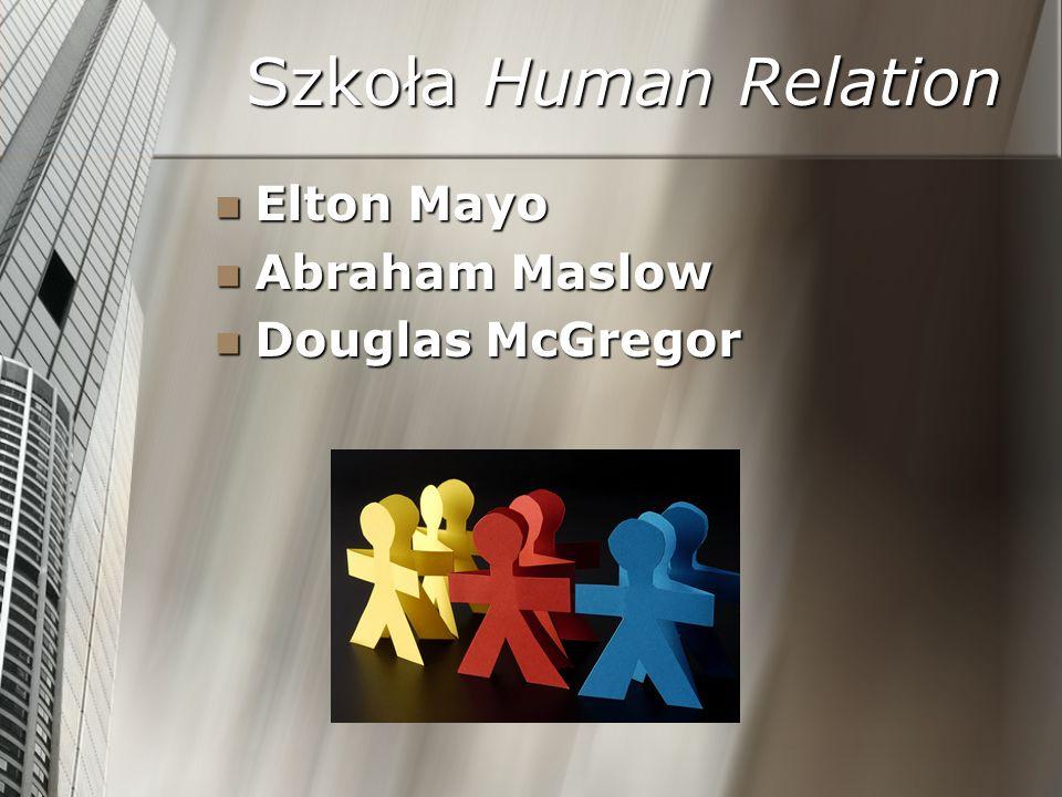 Szkoła Human Relation Elton Mayo Elton Mayo Abraham Maslow Abraham Maslow Douglas McGregor Douglas McGregor