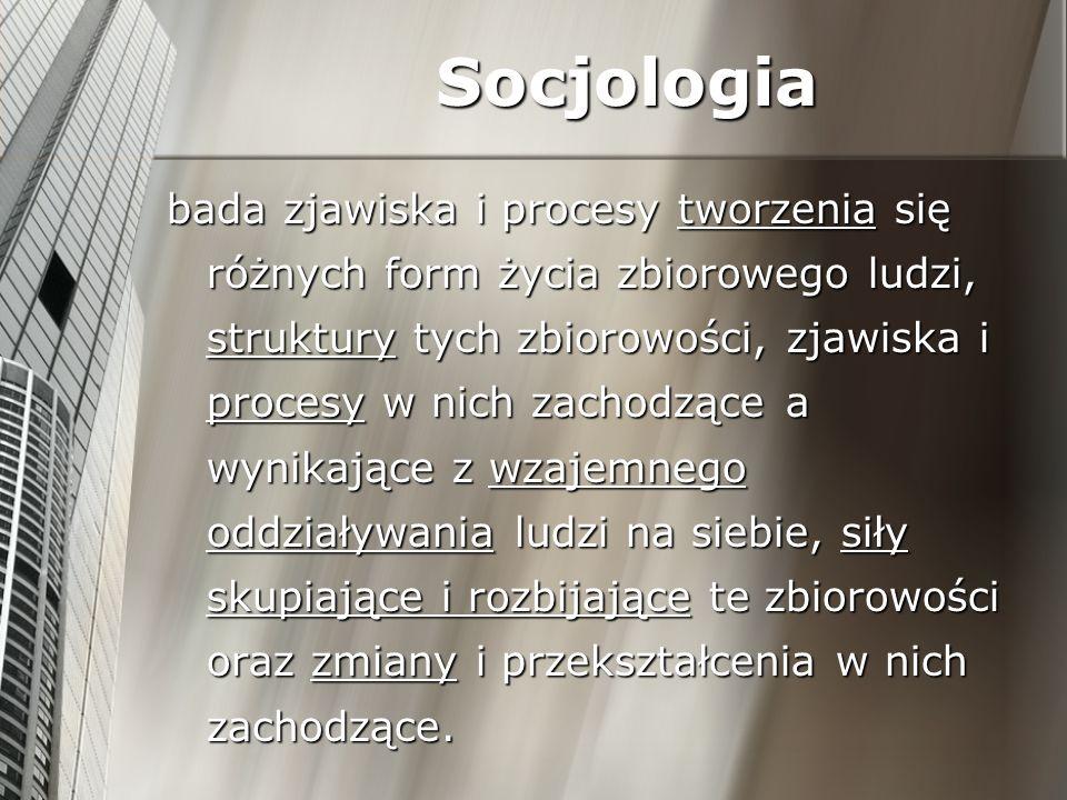 2014-01-04 Socjologia – nauka analizująca interakcje i relacje między ludźmi SOCJOLOGIA Poziom mikrospołeczny Bada bezpośrednie relacje międzyludzkie Poziom mezospołeczny Analizuje organizacje formalne Poziom makrospołeczny Analizuje funkcjonowanie całych społeczeństw, związki między społeczeństwami