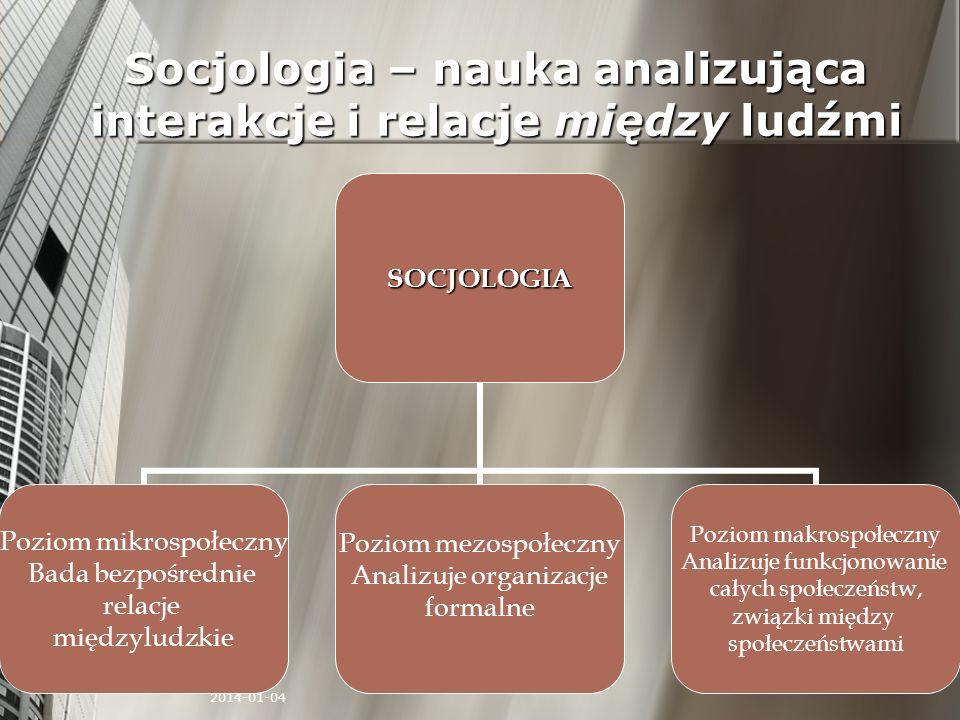 2014-01-04 Socjologia – nauka analizująca interakcje i relacje między ludźmi SOCJOLOGIA Poziom mikrospołeczny Bada bezpośrednie relacje międzyludzkie