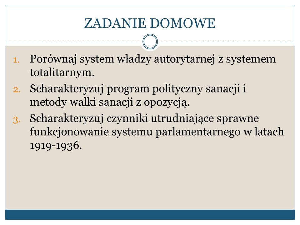 ZADANIE DOMOWE 1. Porównaj system władzy autorytarnej z systemem totalitarnym. 2. Scharakteryzuj program polityczny sanacji i metody walki sanacji z o