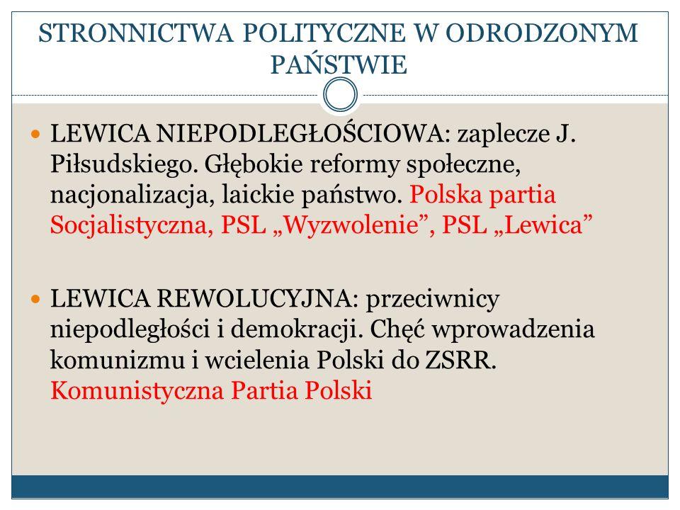 STRONNICTWA POLITYCZNE W ODRODZONYM PAŃSTWIE LEWICA NIEPODLEGŁOŚCIOWA: zaplecze J. Piłsudskiego. Głębokie reformy społeczne, nacjonalizacja, laickie p