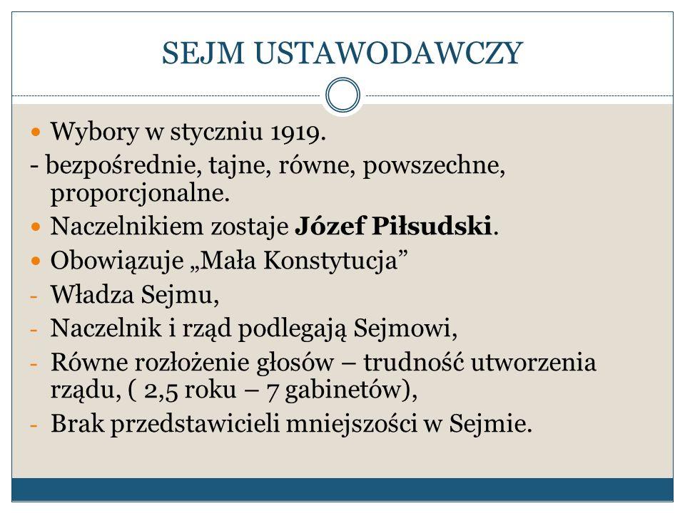 SEJM USTAWODAWCZY Wybory w styczniu 1919. - bezpośrednie, tajne, równe, powszechne, proporcjonalne. Naczelnikiem zostaje Józef Piłsudski. Obowiązuje M