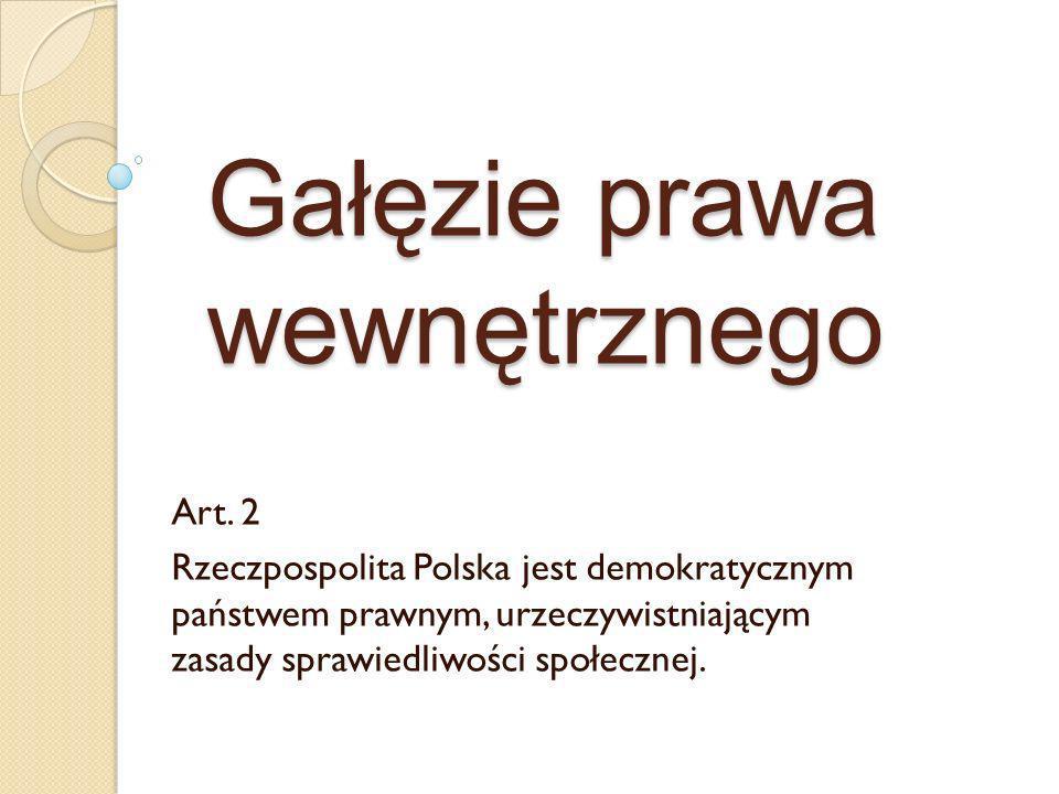 Najważniejsze gałęzie prawa wewnętrznego w Polsce KarneCywilneAdministracyjne Wyróżniamy także: prawo państwowe (konstytucyjne) prawo pracy prawo rodzinne prawo finansowe prawo gospodarcze prawo procesowe