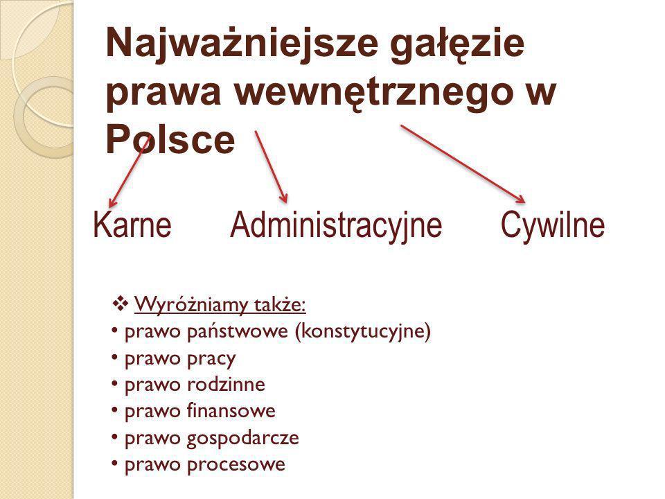 Najważniejsze gałęzie prawa wewnętrznego w Polsce KarneCywilneAdministracyjne Wyróżniamy także: prawo państwowe (konstytucyjne) prawo pracy prawo rodz