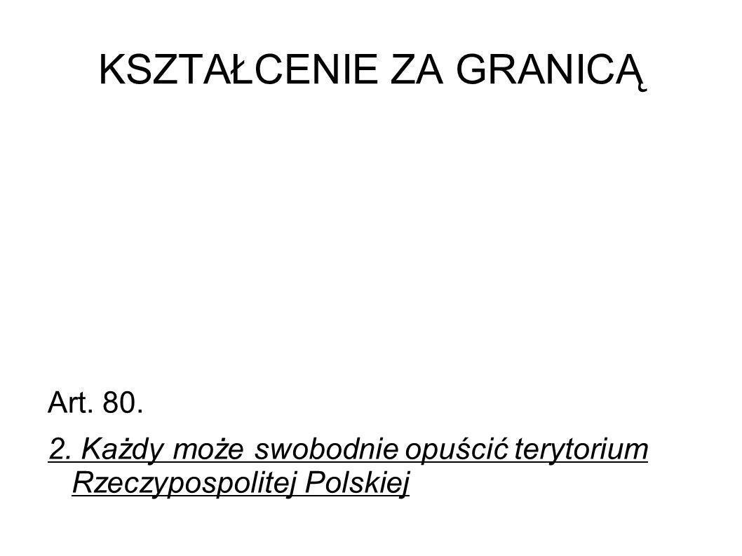 KSZTAŁCENIE ZA GRANICĄ Art. 80. 2. Każdy może swobodnie opuścić terytorium Rzeczypospolitej Polskiej