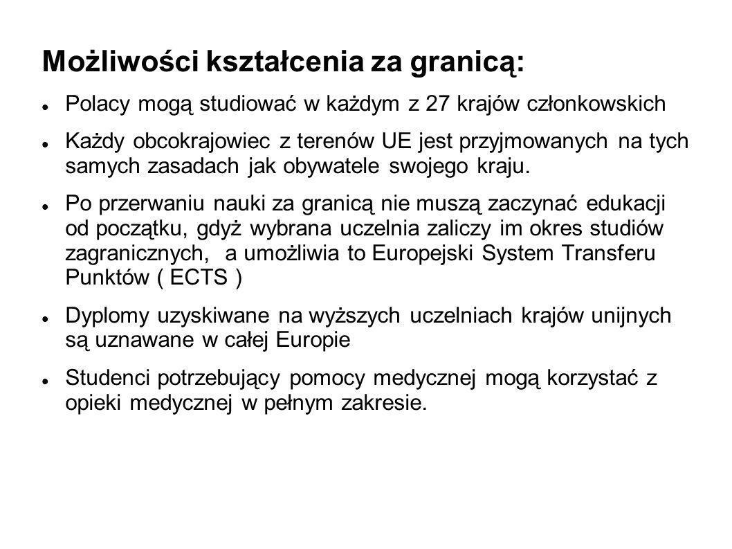 Możliwości kształcenia za granicą: Polacy mogą studiować w każdym z 27 krajów członkowskich Każdy obcokrajowiec z terenów UE jest przyjmowanych na tyc