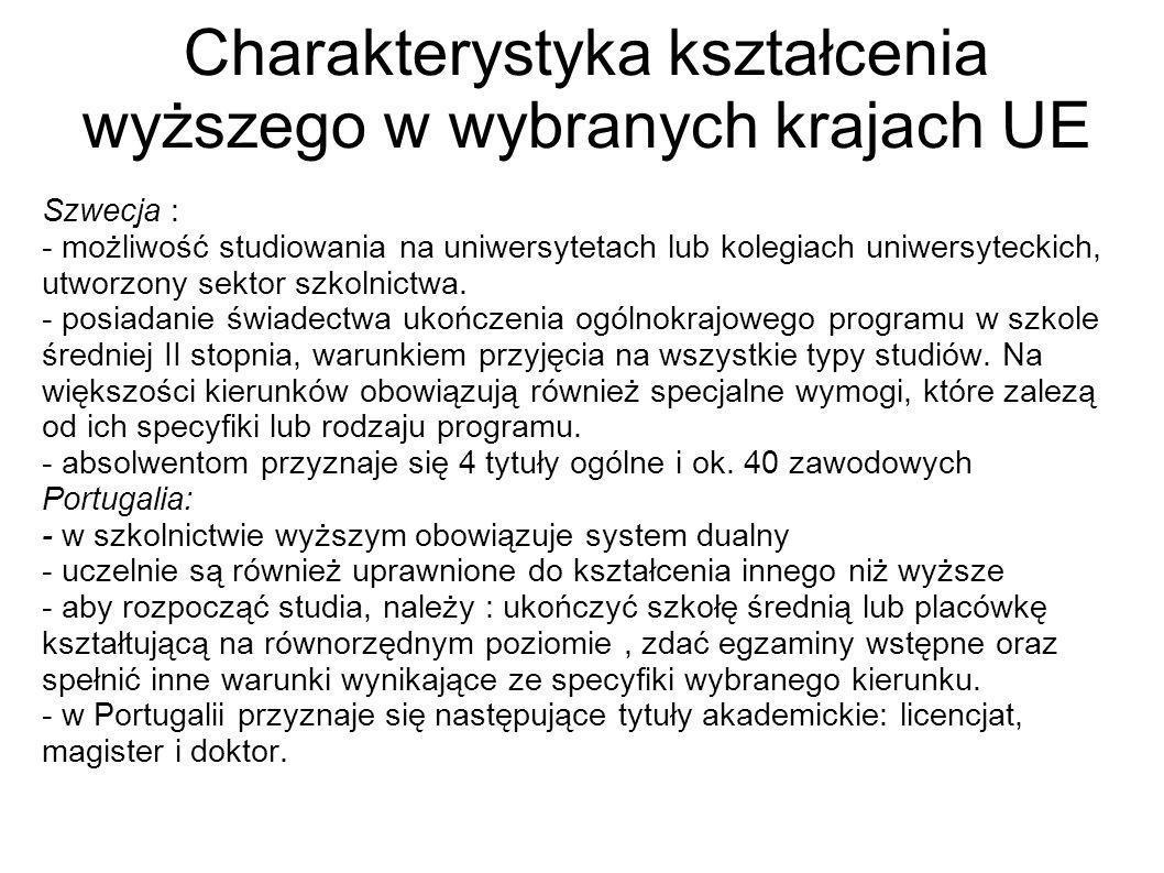 Słowacja : - aby ubiegać się o przyjęcie na studia, trzeba posiadać świadectwo zdania egzaminu końcowego w szkole średniej II stopnia - Studia I stopnia, kończą się uzyskaniem tytułu bakalar (BA).