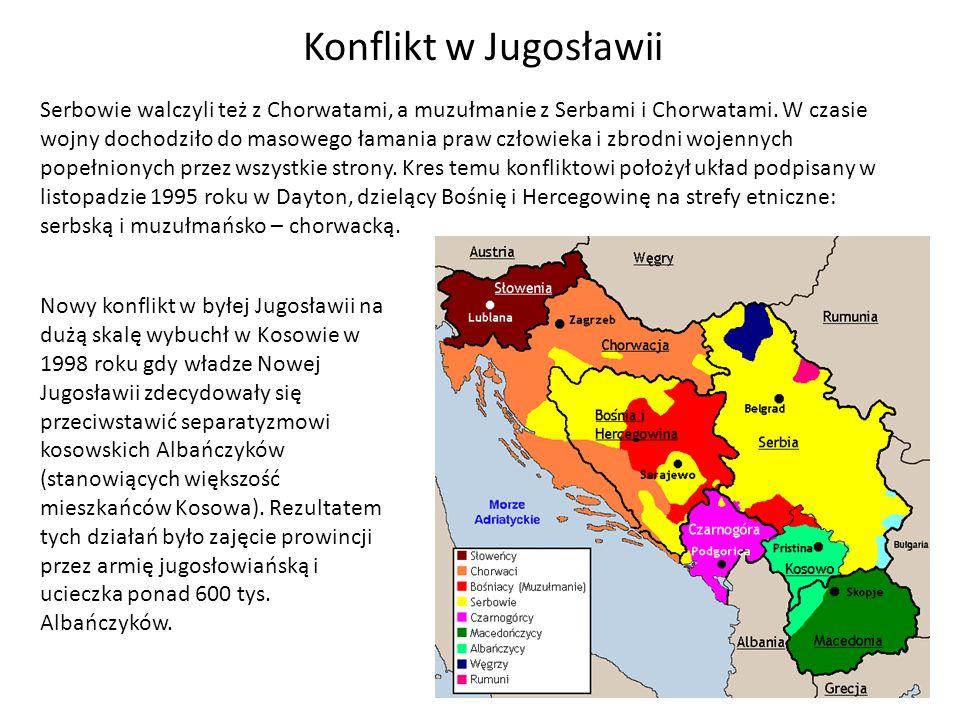 Konflikt w Jugosławii Serbowie walczyli też z Chorwatami, a muzułmanie z Serbami i Chorwatami.