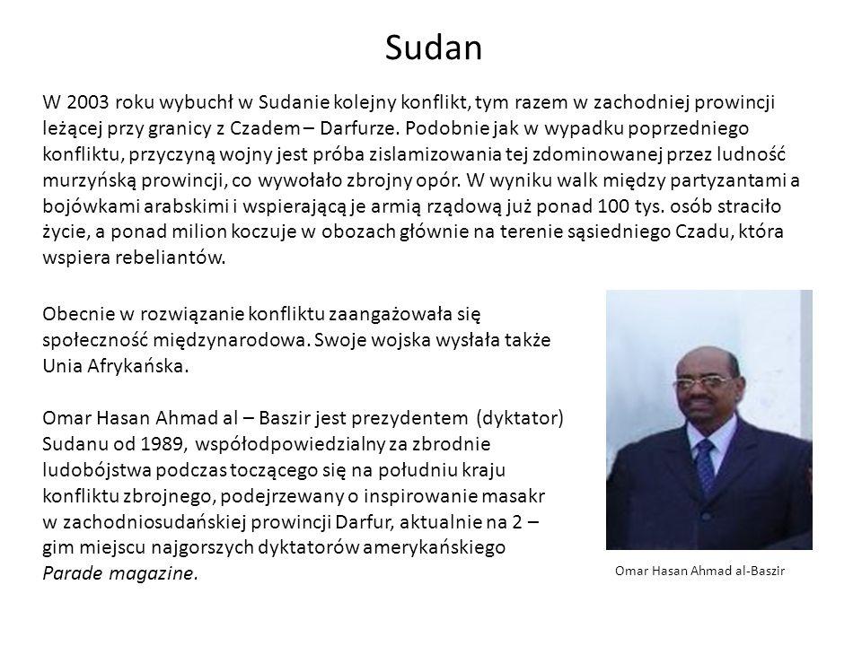 Sudan W 2003 roku wybuchł w Sudanie kolejny konflikt, tym razem w zachodniej prowincji leżącej przy granicy z Czadem – Darfurze. Podobnie jak w wypadk