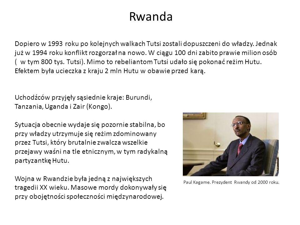 Rwanda Uchodźców przyjęły sąsiednie kraje: Burundi, Tanzania, Uganda i Zair (Kongo). Sytuacja obecnie wydaje się pozornie stabilna, bo przy władzy utr