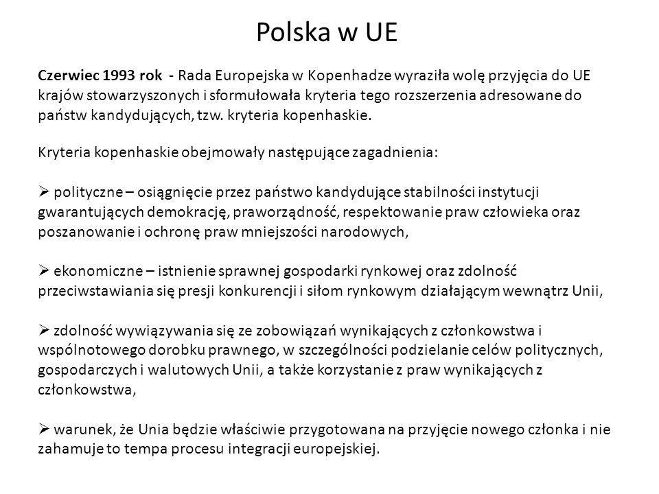 Polska w UE Czerwiec 1993 rok - Rada Europejska w Kopenhadze wyraziła wolę przyjęcia do UE krajów stowarzyszonych i sformułowała kryteria tego rozszer