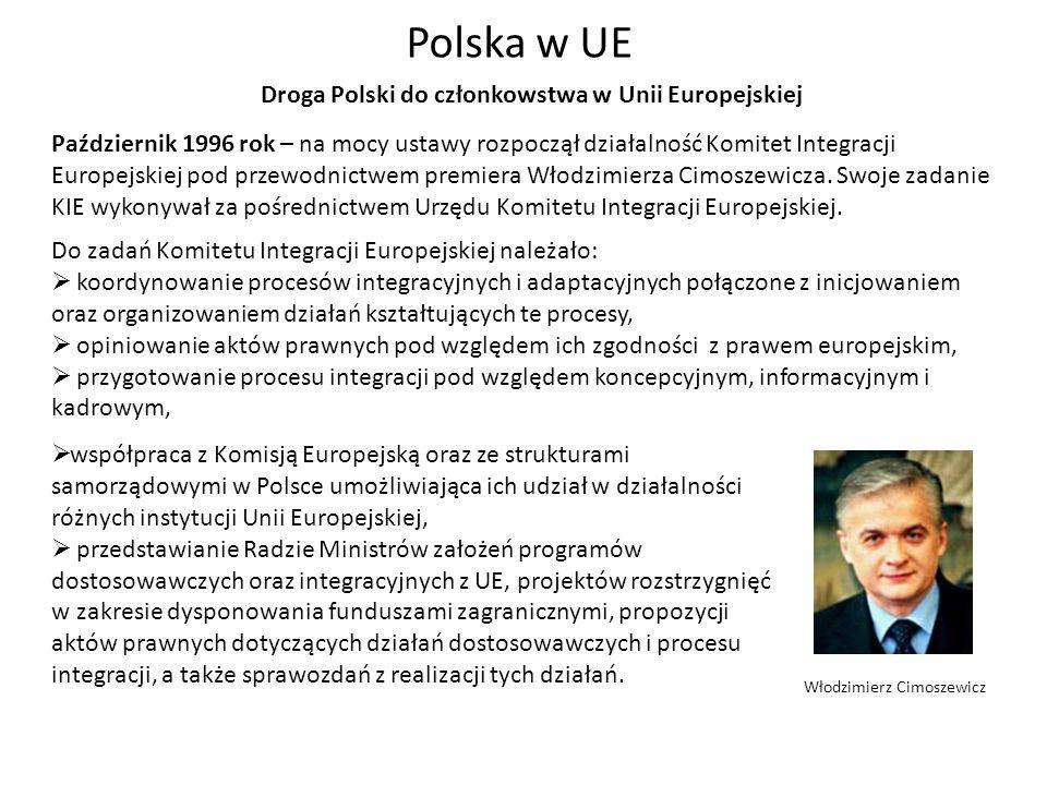 Październik 1996 rok – na mocy ustawy rozpoczął działalność Komitet Integracji Europejskiej pod przewodnictwem premiera Włodzimierza Cimoszewicza. Swo