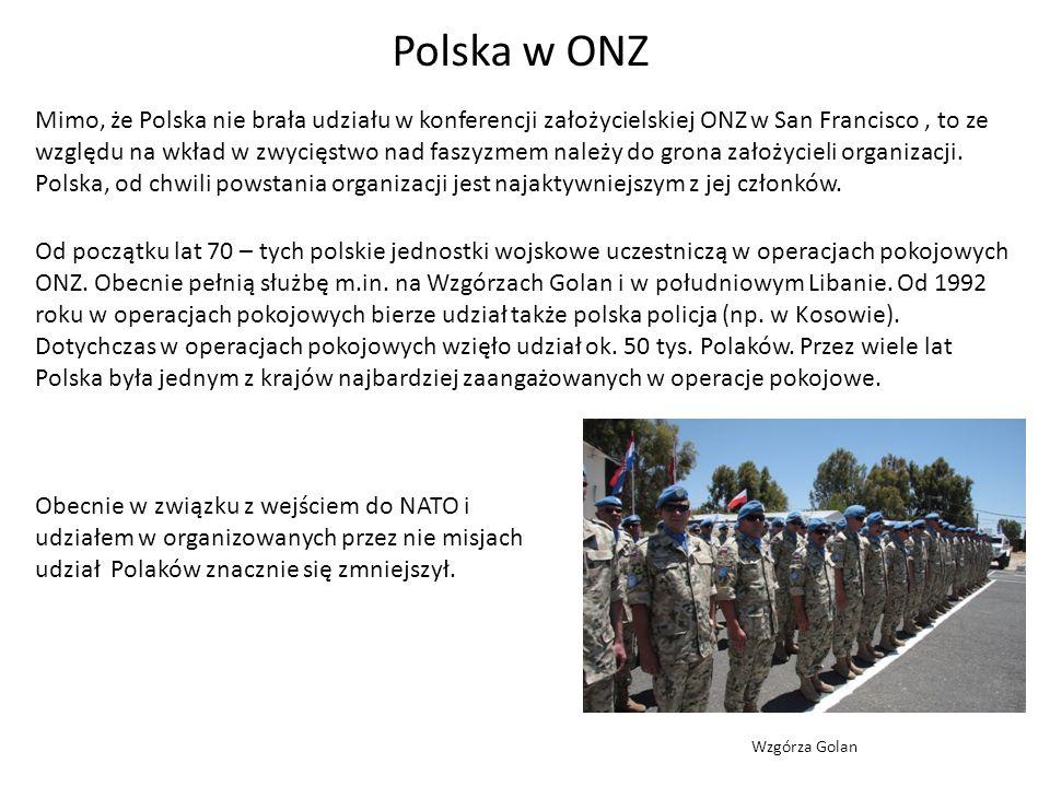 Polska w ONZ Obok operacji pokojowych drugim obszarem aktywności Polski na forum ONZ było rozbrojenie i kontrola zbrojeń.