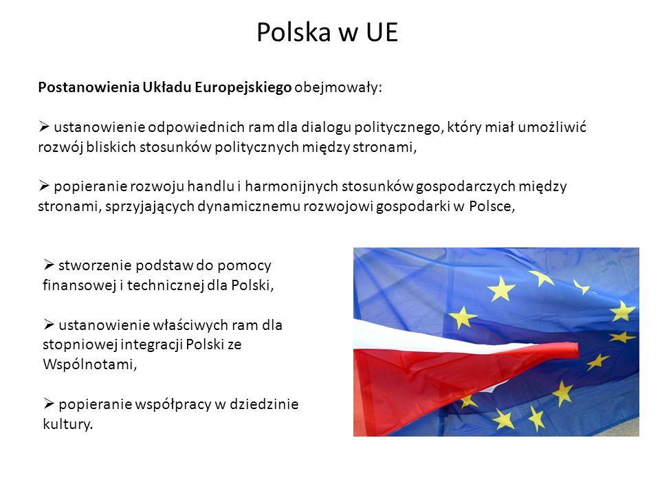 Polska w UE Postanowienia Układu Europejskiego obejmowały: ustanowienie odpowiednich ram dla dialogu politycznego, który miał umożliwić rozwój bliskic