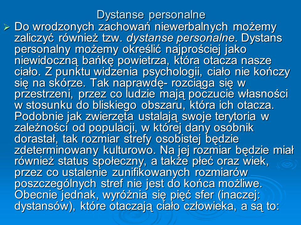 Dystanse personalne Do wrodzonych zachowań niewerbalnych możemy zaliczyć również tzw. dystanse personalne. Dystans personalny możemy określić najprośc