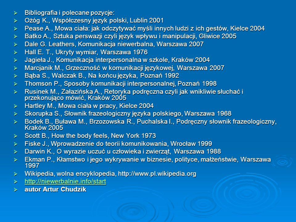 Bibliografia i polecane pozycje: Bibliografia i polecane pozycje: Ożóg K., Współczesny język polski, Lublin 2001 Ożóg K., Współczesny język polski, Lu