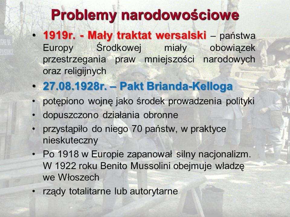 Problemy narodowościowe 1919r. - Mały traktat wersalski1919r. - Mały traktat wersalski – państwa Europy Środkowej miały obowiązek przestrzegania praw