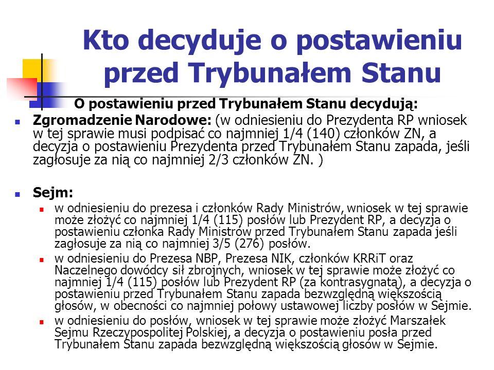 Senat (w odniesieniu do senatorów, wniosek w tej sprawie może złożyć Marszałek Senatu Rzeczypospolitej Polskiej, a decyzja o postawieniu senatora przed Trybunałem Stanu zapada bezwzględną większością głosów w Senacie.) Wniosek o postawienie przed Trybunałem Stanu może złożyć też Sejmowa komisja śledcza w odniesieniu do Prezesa NBP, Prezesa NIK-u, członków KRRiT oraz Naczelnego dowódcy sił zbrojnych, jeśli zostanie on poparty przez co najmniej 2/3 składu Komisji, w obecności co najmniej połowy jej członków.