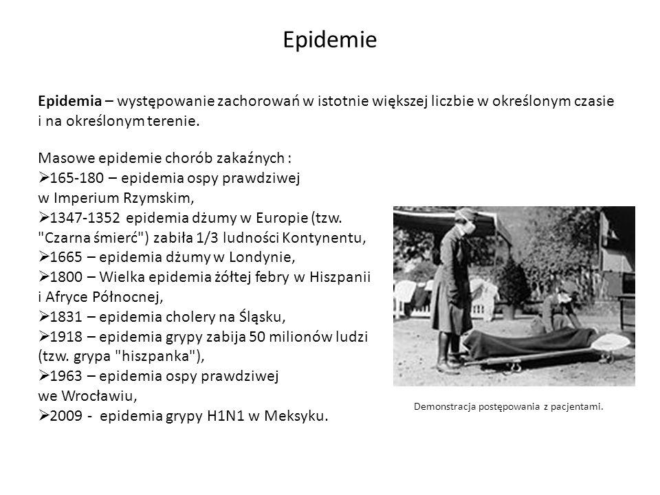 Epidemia – występowanie zachorowań w istotnie większej liczbie w określonym czasie i na określonym terenie. Epidemie Masowe epidemie chorób zakaźnych