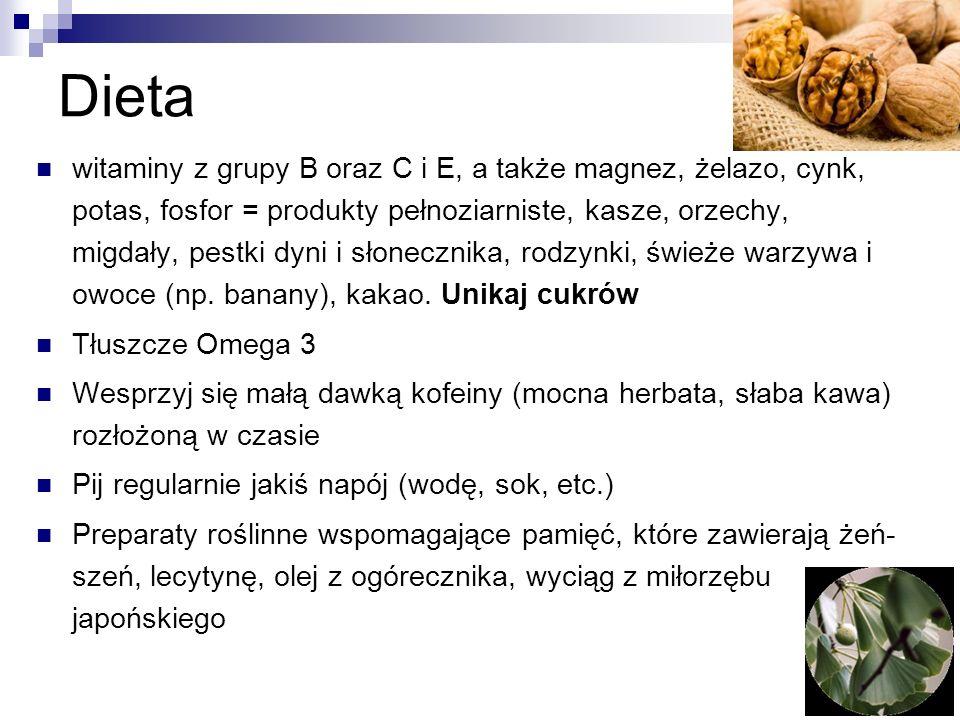 Dieta witaminy z grupy B oraz C i E, a także magnez, żelazo, cynk, potas, fosfor = produkty pełnoziarniste, kasze, orzechy, migdały, pestki dyni i sło