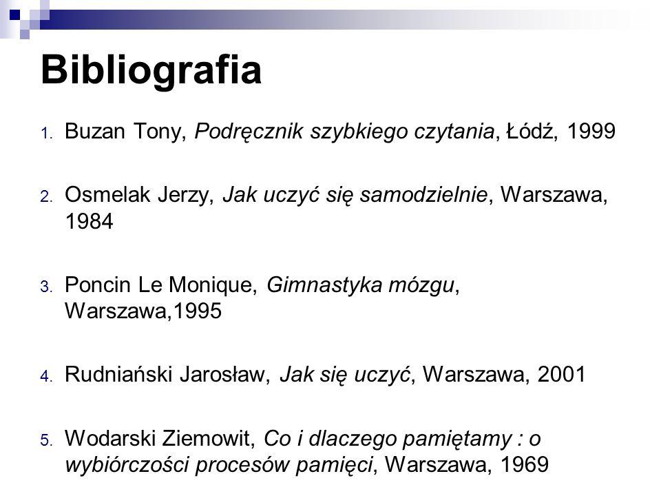Bibliografia 1. Buzan Tony, Podręcznik szybkiego czytania, Łódź, 1999 2. Osmelak Jerzy, Jak uczyć się samodzielnie, Warszawa, 1984 3. Poncin Le Moniqu